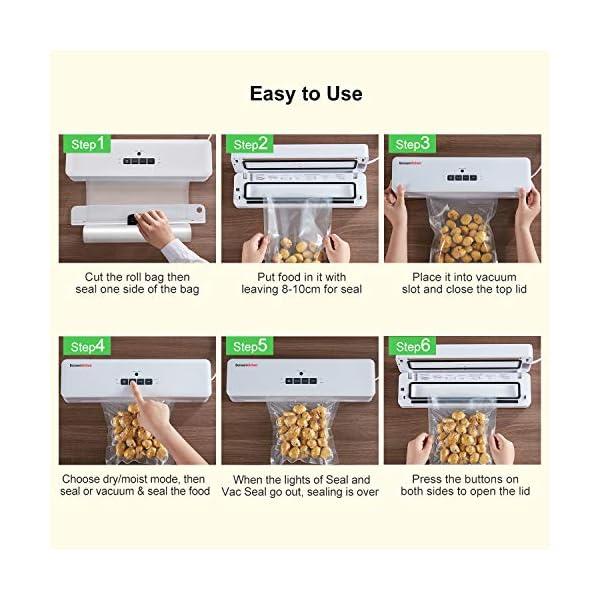Macchina Sottovuoto per Alimenti Bonsenkitchen, Sigillatore sottovuoto per alimenti freschi sia secchi che umidi, bianco… 5