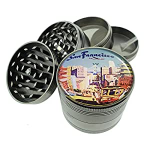 "Titanium 4 PC Magnetic Grinder 2.1"" Hand Mueller D-025 San Francisco Vintage Travel"