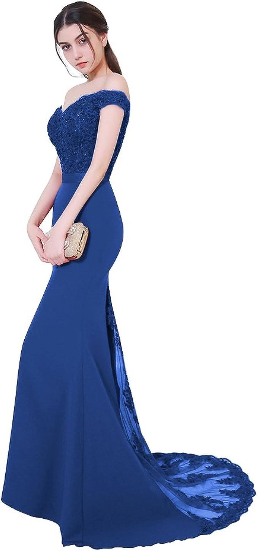 Aiyana Damen Elegantes V-Ausschnitt Rueckenfrei Kleid Bodenlang Langes  Spitze Schulterfrei Rosa Meerjungfrau Abendkleid