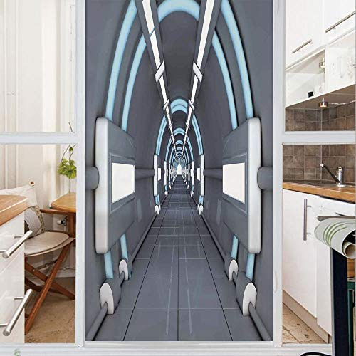 Decorative Window Film,No Glue Frosted Privacy Film,Stained Glass Door Film,Fantastic Inner View of Rocket Structure Cyber Hallway Trip to Dark Matter,for Home & Office,23.6In. by 35.4In Gray Blue