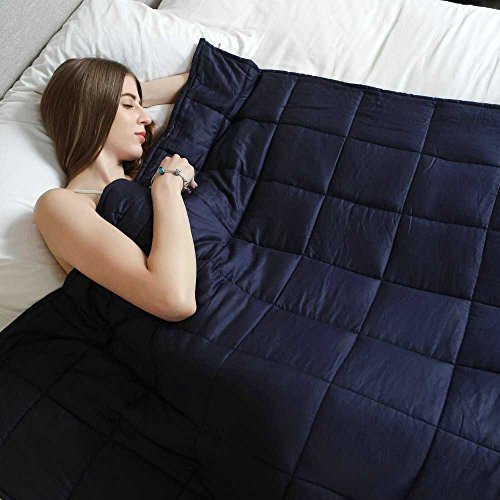 Weighted Idea Affordable Weighted Blanket for Adult Women and Men - Occupational Therapy for Anxiety, Insomnia, Agitation, Autism, ADHD - Fits King Size Beds - Navy Blue (48''x78'', 20 - Your Pocket Wars Star