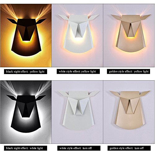 Nordic Postmodern Ngau Tau Deer Head Decoration Wall Lamp Study Bedroom LED Aluminum Alloy Wall Light Bedside Restaurant Aisle Cafe Lighting (including light source) ( Color : Gold ) by CHUANGCHUANG (Image #4)'