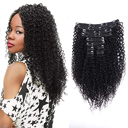 Alishow 100% Kinky Curly Clip in Human Hair Extensions Brazilian Remy Virgin Hair For Women 120Gram 10Pcs/Set Natural Black 14 inch