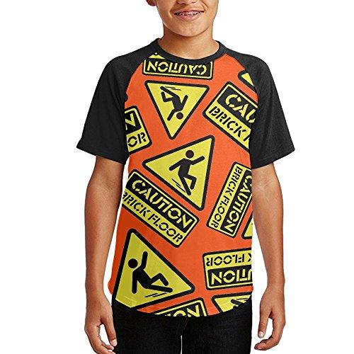 Hot Caution Brick Floor Warning Sign Youth Short Sleeves Raglan Print Baseball T Shirts Tees supplier