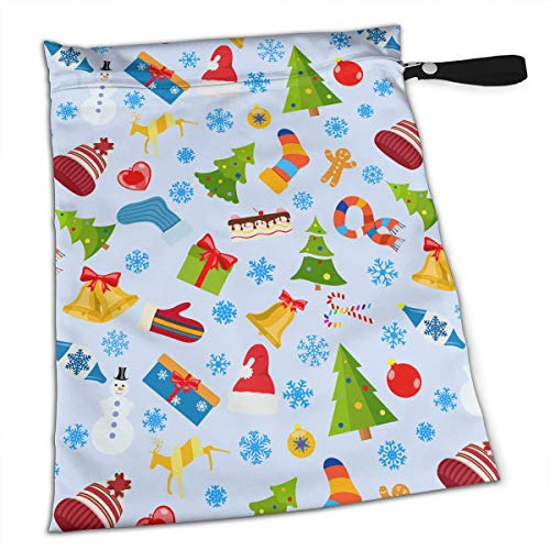 (NIAOBUDAI Christmas Stockings Love Gift Snowman Baby Wet and Dry Cloth Diaper Bags, Nappy Organizer Bag, Multipurpose Travel Packing Organizer Bags for Swimsuit, Underwear, Washable & Reusable)
