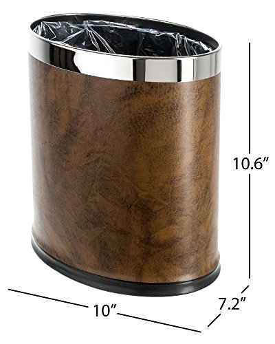 Leather Waste Bin (Brelso 'Invisi-Overlap' Open Top Leatherette Trash Can, Small Office Wastebasket, Modern Home Décor, Oval Shape (Brown))