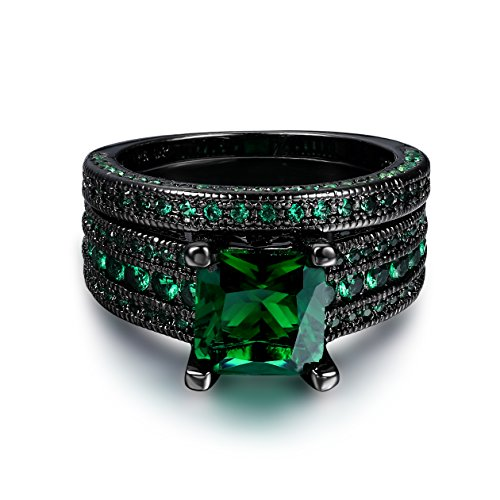 Double Fair Fashion Jewelry Black Gold Plated Green Or Blue CZ Eternity Band Ring Set for Her and Him (Black Gold-Green, 10)