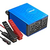 VOLTCUBE 400W Power Inverter 12V DC to 110V AC Converter with 4.8A Dual USB Car Adapter with 2 Independent AC outlets