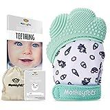 MonkeyTots Teething Mitten for Babies   Exceptional Quality Baby Teething Toys   Comforting Mitten Teethers for Babies   Includes Teething Mitt, Travel Bag, Milestone Card & Teething eBook