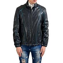 "Hugo Boss ""Catori"" Men's 100% Leather Off Black Full Zip Jacket US M IT 50"