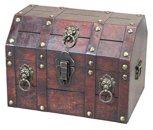 Vintiquewise Antique Wooden Pirate Treasure Chest with Lion Rings and Lockable Latch Black
