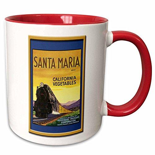 - 3dRose BLN Vintage Fruit and Vegetable Crate Labels - Vintage Santa Maria California Vegetable Label - 15oz Two-Tone Red Mug (mug_129857_10)