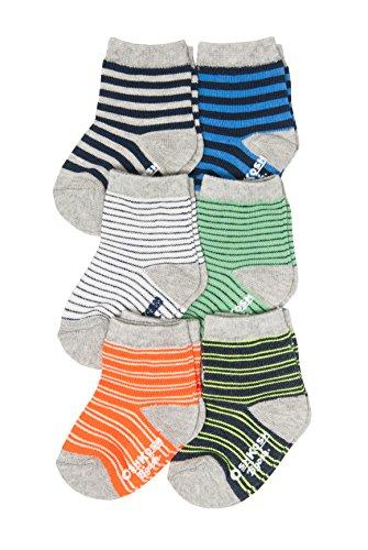 OshKosh B'Gosh Baby Boys Crew Socks (6 Pack), As Stripe/Blue, Green, Orange, Grey, 3-12 Months