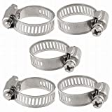 Houseuse Water Gas Pipe Worm Drive Hose Clamp Adjustable Hoop (5 Piece), 16-25mm