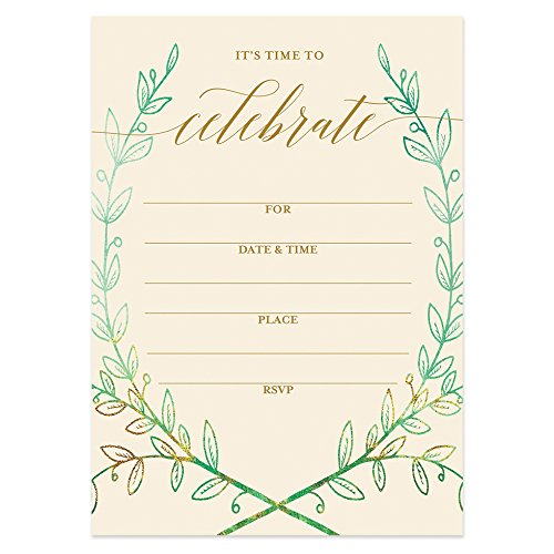 25 Rustic Laurels Invitations with Envelopes (Pack of