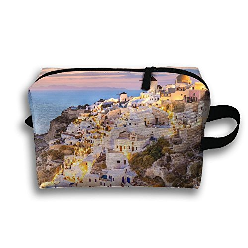Storage Bag Travel Pouch Fira Santorini Greece Purse Organizer Power Bank Data Wire Cosmetic Stationery Holder
