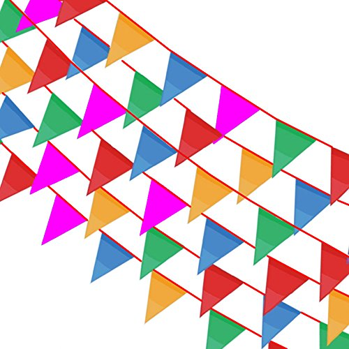 Bonayuanda Multicolor Pennant Banner 164ft Pennant Party Rainbow String Curtain Banner,140pcs Flags for Decorations, Birthdays, Event Supplies, Festivals, Children & Adults
