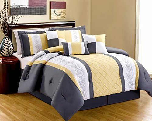 Yellow Grey And White Bedding Sets: 8 Piece Yellow White Grey EMBROIDERED MIRANDA Comforter