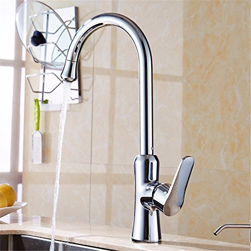 LOSTRYY Copper single handle single hole kitchen faucet hot and cold bending kitchen faucet outlet
