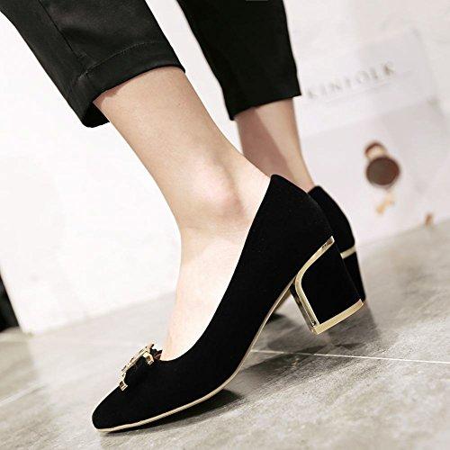 Carolbar Mujeres Pointed Toe Bows Cuff Rhinestones Fashion Office Lady Chunky Mediados De Zapatos De Tacón Negro