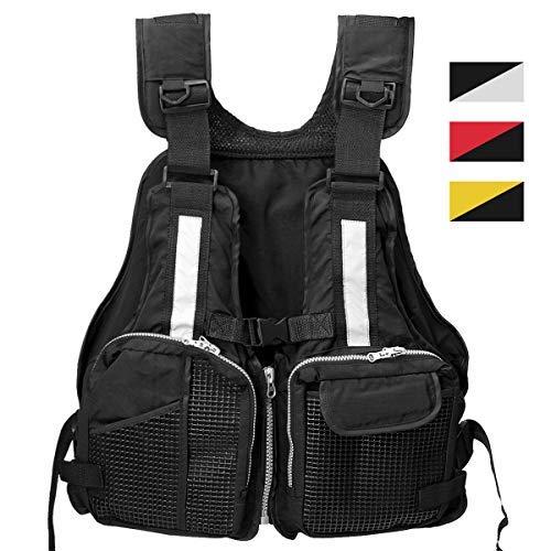 (Slimerence Fly Fishing Vest Pack, Boat Aid Sailing Kayak Floating Life Jacket Vest, Adjustable Adjustable Belt of Size for Men and Women Black)
