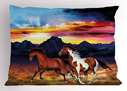(Lunarable Western Pillow Sham, Running Wild Horses at Sunset Artistic Rustic Landscape Colorful Sky Illustration, Decorative Standard Size Printed Pillowcase, 26 X 20 inches, Multicolor)