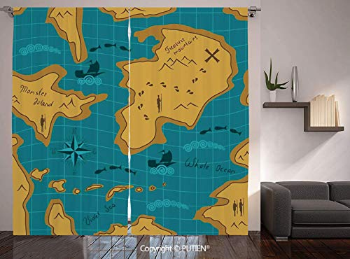 Thermal Insulated Blackout Window Curtain [ Island Map,Historical Adventure Map Pattern with Sail Boats Direction Route Track Graphic,Orange Blue ] for Living Room Bedroom Dorm Room Classroom Kitchen]()