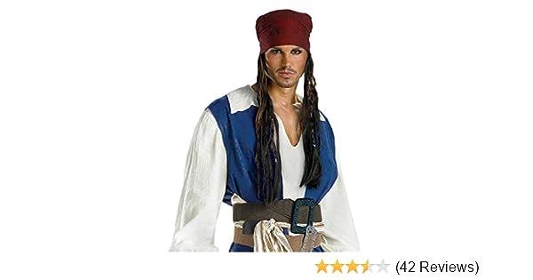 Adult Pirate Bandana Wig Fancy Dress Costume Caribbean Jack Sparrow Mens BN