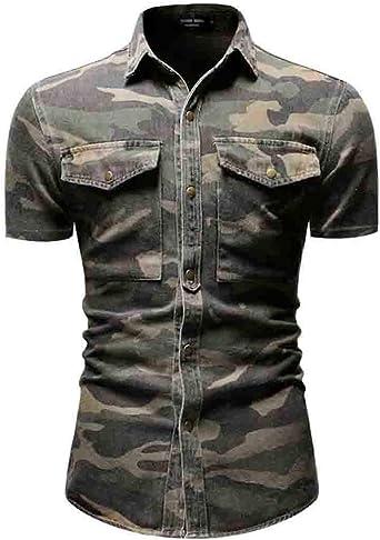 Idopy Camisa Vaquera de Manga Corta con Botones de Camuflaje para Hombre Top: Amazon.es: Ropa y accesorios