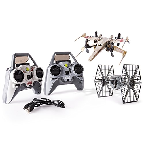 Are you with the Imperial Forces or the Rebel Alliance? Choose your side and get ready to battle a friend-turned-foe with the Air Hogs Star Wars X-wing vs. TIE Fighter Drone Battle Set. Pilot either the RC X-wing Drone or TIE Fighter Drone an...