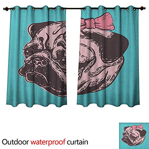 Pug Home Patio Outdoor Curtain Blue Background with The Cute Pug and Its Pink Buckle Adorable Animal Design Pet Print W72 x L63(183cm x 160cm)