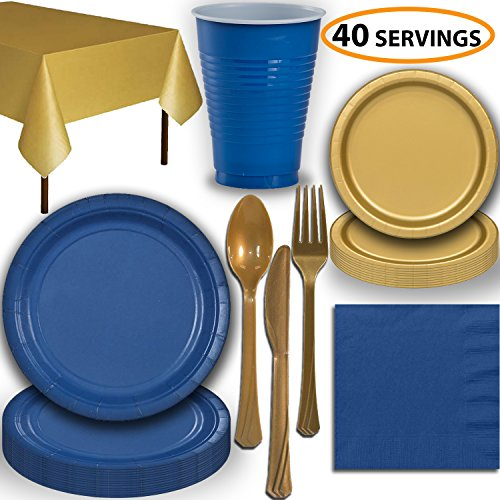 Disposable Party Supplies, Serves 40 - Blue and Gold - Large and Small Paper Plates, 12 oz Plastic Cups, heavyweight Cutlery, Napkins, and Tablecloths. Full Two-Tone Tableware Set