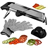 Mandoline Slicer, Vegetable Potato Slicer, Julienne Slicer, Onion Cutter, With Stainless Steel Adjustable Blade. Cut Resistant Gloves Included.