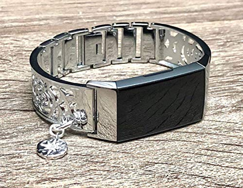 - Shiny Silver Metal Links Band For Fitbit Charge 3 Handmade Flowers Design Women Jewelry Bangle Fitbit Charge 3 Bracelet CZ North Star Charm Pendant Fitbit Charge 3 Wristband