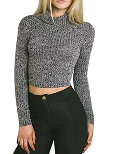 Joeoy Women's Turtle Neck Knitted Cropped Sweater Jumper Dark Grey-L