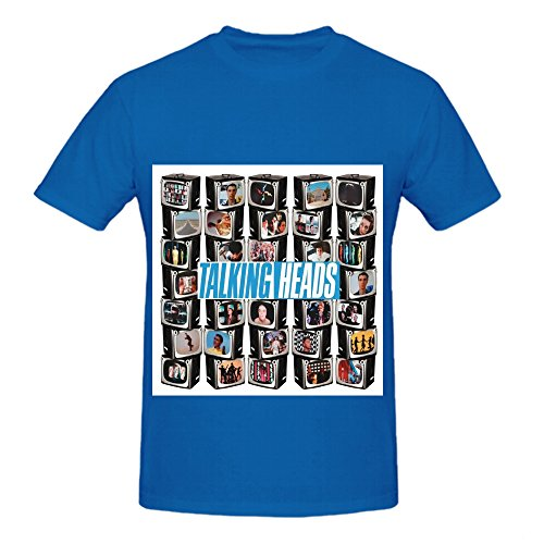 Talking Heads The Collection Rock Album Cover Men Crew Neck Design Shirts Blue