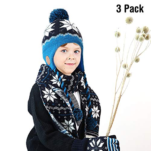 Baby Knit Hat Scarf Gloves -Soo Angeles Mittens Girls Boys Winter Warm Festival Birthday Christmas Gift(3 Pieces Blue S)