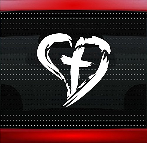 Noizy Graphics Cross Heart #3 Christian Car Sticker Truck Window Vinyl Decal Color: Gold