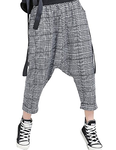 Zoulee Women's Elastic Waist Drop Crotch Striped Plaid Wide Leg Pants Style 3 Black White Small Plaid (White Pants Plaid)