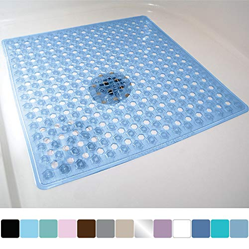 Gorilla Grip Original Patented Bath, Shower, Tub Mat (21x21) Machine Washable, Antibacterial, BPA, Latex, Phthalate Free, Square Bathroom Mats with Drain Holes, Suction Cups (Blue)