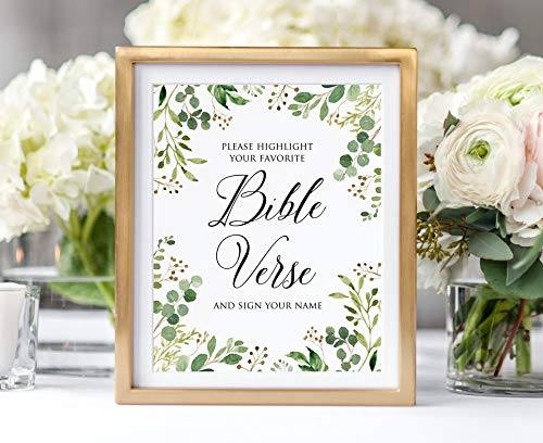 TimPrint Greenery Wedding Bible Verse Sign Highlight Your Favorite Bible Verse and Sign Your Name Wedding Sign Rustic Eucalyptus Garden W427 Framed Print