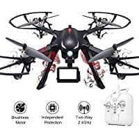 XFUNY Brushless Drone Nylon Fiber Material UAV 500m Remote Control Quadrocopter with Long Flying Time & Camera Bracket & LED Light for Aerial Photography