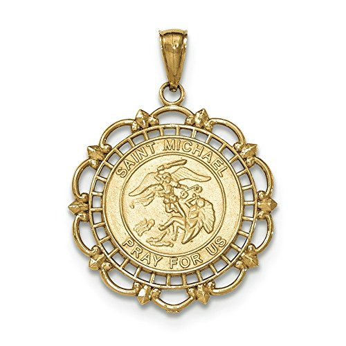 Pendentif poli et texturé Cadre saint Michael Médaille en or 14carats
