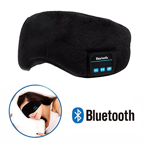 Bluetooth Sleeping Eye Mask Wireless Headphone, Voerou Adjustable Music Sleep Eye Shades with Built-in Speakers Microphone Handsfree Washable Perfect for Air Travel,Siesta and Sleeping(Black)