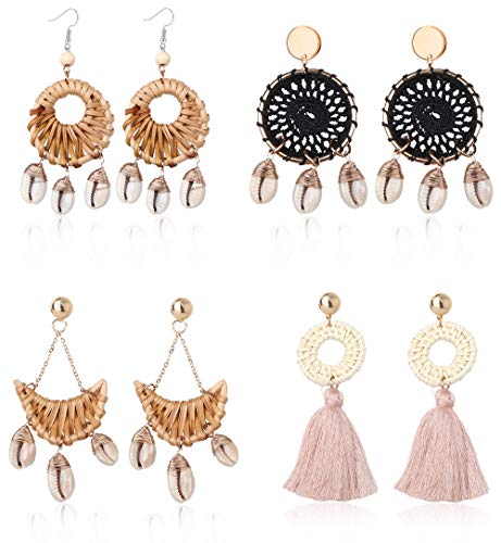 LOLIAS 4 Pairs Woven Rattan Shell Earrings Bohemian Tassel Earring Handmade Straw Wicker Braid Statement Drop Dangle Earrings for Women Girls