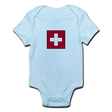 CafePress - Swiss Flag - Switzerland - Cute Infant Bodysuit Baby Romper