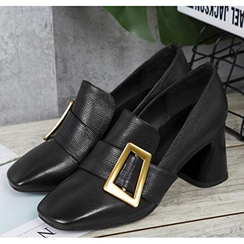 Heel Black Summer Shoes Brown Women's Chunky Comfort Heels Nappa Leather Black ZHZNVX Tg1qUOxw