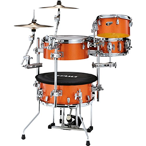 4 Piece Shell Set - Tama Cocktail Jam 4-piece Shell Pack with Hardware - Bright Orange Sparkle