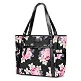 Womens Laptop Bag, BRINCH Stylish Nylon Zip Peony Laptop Tote Purse Shopping Bag Carry Travel Business Briefcase Shoulder Handbag for Up to 15.6 Inch Laptop / Notebook / MacBook Computer,Black Peony