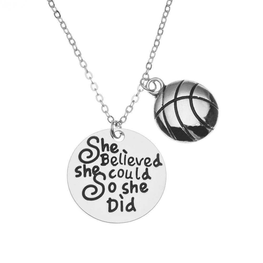 Sportybella Basketball Necklace Basketball She Believed She Could So She Did Jewelry Basketball Gifts Basketball Charm Necklace for Girl Basketball Players